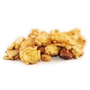 A nutty caramel popcorn that contains nuts (almonds and peanuts). It like a throwback of a nostalgic popcorn favorite except without the toy surprise.