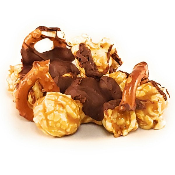 Caramel Popcorn mixed with pretzels then drizzled with Ghiraadellie dark chocolate and sprinkle with sea salt make this a sweet, salty and chocolaty treat.