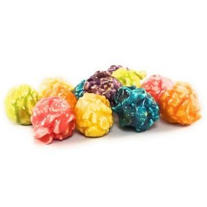 Rainbow Fruit Flavored popcorn consist of Strawberry, Orange, Banana, Green Apple, Blue Raspberry and Grape flavored popcorn.