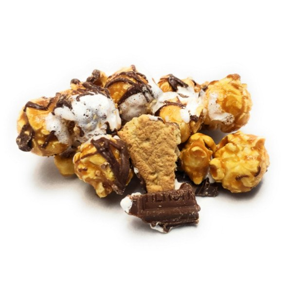 Made with real marshmallow, gram crackers and Hershey Chocolate pieces, this popcorn treat will remind you of sitting around the campfire making S'mores.